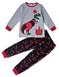 AIDEAONE Girls Boys Christmas Dinosaur Pigiama 2 Pezzi Loungewear Cotton Sleepwear 4-5 Anni