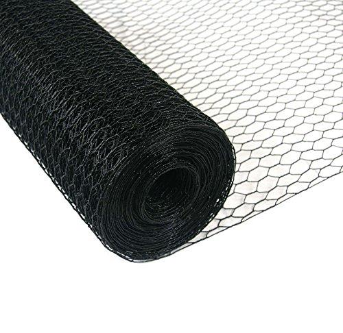 50meter Rotolo rete Metallica esagonale Polli recinzione pollame recinzione recinzione rivestimento in PVC nero maglie 13mm (altezza 150cm)