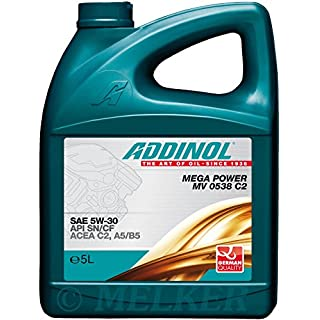 ADDINOL MEGA POWER MV 0538 5W-30 C2,A5/B5 Motorenöl, 5 Liter