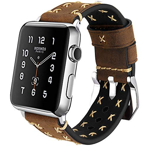 MroTech Armband kompatibel für iWatch 42mm Leder 44mm Watch Band Vintage Uhrenarmband Lederarmband Echtleder Ersatzband für iWatch Sport Edition Nike+ Serie 1 2 3 4 (Kaffee, 42 mm / 44 mm)