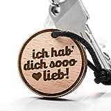 treeforce ich hab Dich sooo lieb Schlüsselanhänger, Halskette oder Auto- Anhänger 3in1 DIY Schmuck aus Buchenholz