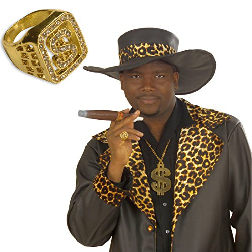 Dollar Ring Dollarzeichen Diamantring USA Rapper Strassring Pimp Zuhälter Gangster Bling Bling Klunker Fingerring Schmuck Prolet Diamantring Strass Brillant Juwel Fasching Millionär Mottoparty Accessoire Karneval Kostüm Zubehör