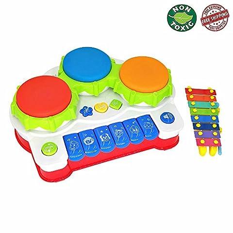 Jouet musical xylophone et respectueux de l'environnement Jouet piano batterie - instrument de musique - améliore le sens du toucher et de l'ouïe de votre enfant