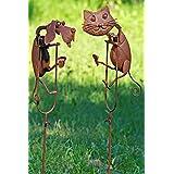 Gartenstab Pendel aus Eisen lackiert Metallstab Deko-Stab Gartendekoration rost Katze und Hund 2 Set H/öhe 109 cm