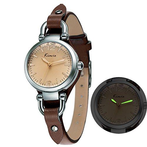Alienwork Mini Damen/Mächen-Uhr Silber Braun-Glas Leder-Armband Braun YH.KW545S-03 - 2