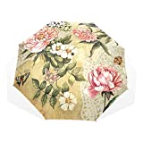 EZIOLY Regenschirm mit Blumenmuster, leicht, UV-Schutz, Sonnenschirm, für Herren, Frauen und Kinder, Winddicht, faltbar, kompakt