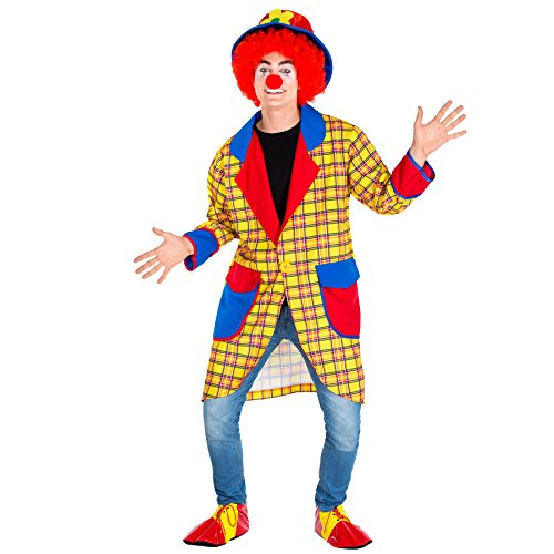 Herrenkostüm Clown | langer Mantel + Clown- Schuhe und Clown- Nase | Clown-Kostüm Fasching (XXL | Nr. 300786)