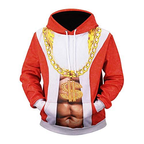 SIFNG Lustige Design Cosplay Weihnachtsmann Kostüm 3D Gedruckt Kapuzenpullis Mendrawstring Hoodies (Comic Con Kostüm Lustig)