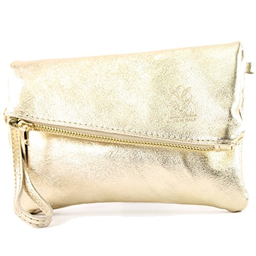 modamoda de -. ital petites dames de sac d'épaule de sac en cuir d'embrayage poignet Sac en cuir T95, Präzise Farbe (nur Farbe):Gold-Metallic