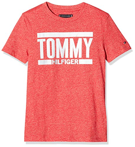 Tommy hilfiger essential+ logo tee s/s, t-shirt bambino, rosso (lychee 618), 164 (taglia produttore: 14)