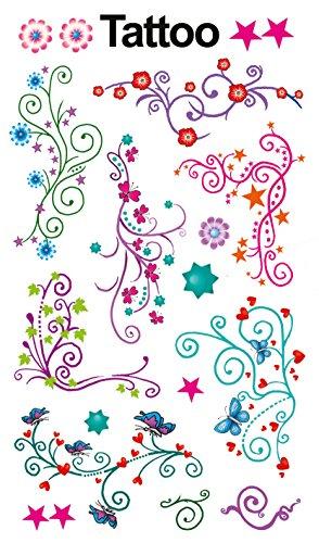 AVERY Zweckform 56749 Temporäre Tattoos Blumenranken (Kindertattoos, dermatologisch getestet, Kindergeburtstag, Kinder zum Spielen) 7 Motive für Mädchen (Tattoos Temporäre Kid)