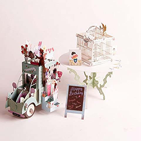 Papier Spiritz Cage à oiseaux et fleur de voiture 3d Pop Up Kit carte Fleurs fête des mères anniversaire Graduation Anniversary Congratulations Get Well Soon au Mom Grandma carte de remerciements Thank You (lot de 2)