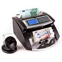 oneConcept Buffett contador de billetes (Con 3 tipos de reconocimiento: UV, magnético e infrarrojo, hasta 1000 por minuto, detector de billete falso, función fajo) - negro