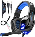 Auriculares gaming, TedGem Auriculares gaming PS4 Stereo, con Microfono LED Bass Surround Soft...