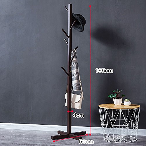 YMJ Garderobe Einfache Boden Standing Coat Rack Baum Massiv Holz Holz Mit 8 Haken 165cm Home Schlafzimmer Lagerung (Farbe : Braun)