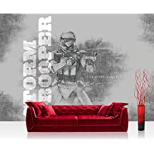 Papel Pintado Fotográfico Premium Plus fotográfico pintado–cuadro de pared–joven pintado Star Wars Storm Trooper Máscara el Viajero Rifle gris–NO. 2199, gris, Fototapete 368x254cm | PREMIUM Blue Back