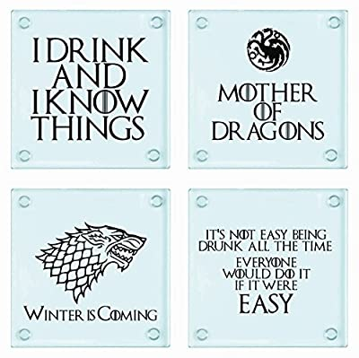 Game of Thrones Inspired Pack of 4 Glass Coasters