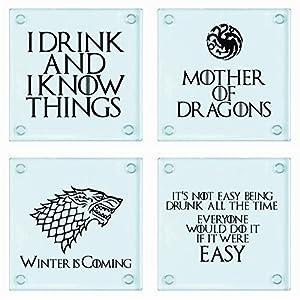 Juego de 4 posavasos de cristal inspirados en Game of Thrones 5