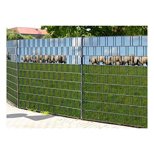 PerfectHD Zaunsichtschutz | 30 Motive | Sichtschutzstreifen für Doppelstabmattenzaun | Windschutz Sonnenschutz Blickdicht | 2,50m x 1,80m | 19cm | 9 Streifen | Ameland