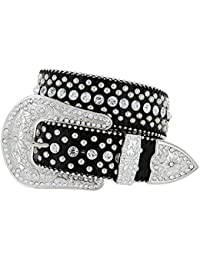 b59035a90a9 Avnet Ceinture Femme 38mm Cuir Style Cowgirl Strass Brillants Et Boucle  Large