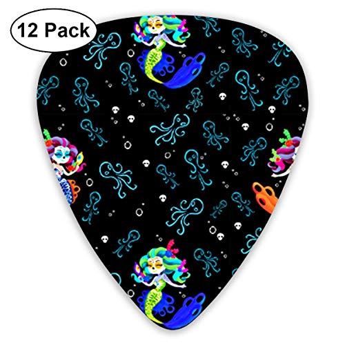 Day Of The Dead Mermaids Octopi 351 Shape Classic Celluloid Guitar Pick For Electric Acoustic Mandolin Bass (12 Count)