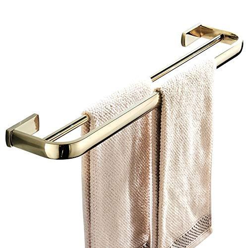 Flybath Handtuchstange Doppelt Messing Handtuchhalter Badetuchhalter Wandmontage, 57 cm / 22,44 Zoll, Poliertes Gold -