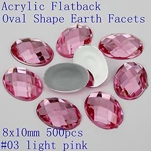 Generic 07 light purple : Many Colors 8x10mm 500pcs Oval Shape Earth Facets Acrylic Flat Back Crystal Strass Nail Art Rhinestones Gems Glitter Decorations