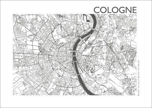 Poster 100 x 70 cm: Stadtplan von Köln von 44spaces - Hochwertiger Kunstdruck, Kunstposter