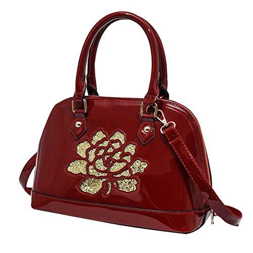 cb6cf47525315 AiSi Damen Lack Leder Handtasche  Damenhandtasche  Schultertasche   Crossbody Bag  Umhängetaschen  Henkeltasche