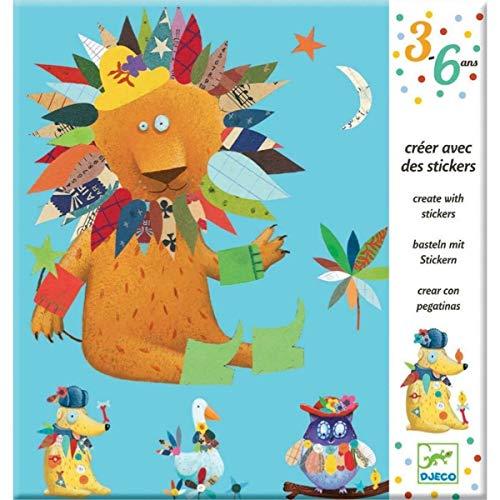 Djeco DJ08932 Kreativ Set Sticker Create Animals mit 4 Vorlagen tierischen Aufklebern, Multicolour