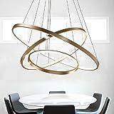 LED Lüster Modern Acryl Pendelleuchte Drei Ringe Deckenlampe Kreative Kronleuchter Hängeleuchte Wohnzimmer Schlafzimmer Esszimmer Gold Deckenleuchter Warmweiß Licht Lichtquelle war enthalten