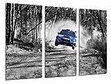 Modernes Wandbild fotografico Auto Rennen Subaru Blau Landschaft Wald, weiß schwarz, 97x 63cm, Ref. 26981