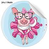 24 lustige, modische Aufkleber mit high fashion Party Rampensau oder edlem Schwein, MATTE Papier Sticker für Geschenke, universal Etiketten für Deko, Pakete, Briefe etc (4,5cm)