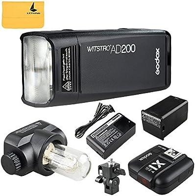 Godox AD200 200Ws 2.4G TTL Flash Strobe 1/8000 HSS Sin Cable Monolight con 2900mAh Litio Batería y Bolsillo Flash Cabeza+ Godox X1T-S Flash Disparador para Sony cámara Flash para Cubra 500 Completas Potencia Tiros y recicle en 0.01-2.1 Sec