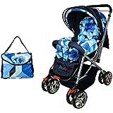 [Sponsored]BabyGo Delight Reversible Baby Stroller & Pram With Mosquito Net, Mama Diaper Bag & Wheel Breaks (Sky Blue)