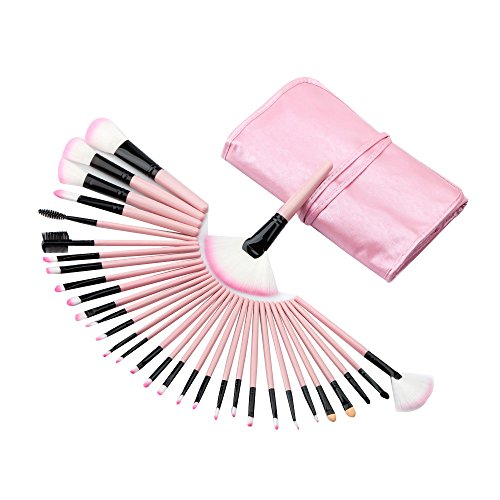 kingko® 32pcs / set Mini Fondation pinceau de maquillage Sourcils Eyeliner Blush cosmétiques Concealer Brushes (rose)