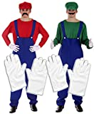 Party Central Mario & Luigi Paar-Kostüm und 2 Paar weiße Handschuhe Gr. Einheitsgröße, weiß