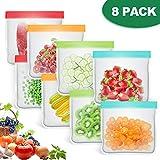 bedee 8 PCS Bolsas Reutilizables Congelar para Almacenamiento de Alimentos, Alimentos Bolsa de Conservación Bolsas Reutilizables Compra|Bolsas de Sándwich |Bocadillos...