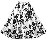 Eudolah Damen Kleid kurz Roeck Rockabilly Faltenrock Knielang Stoffdreuck Vintage Sommerrock H1112 Schwarz-Weiss Gr.XL