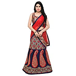 Styles Closet Red And Blue Taffeta Jacquard Lehenga Choli for women
