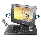 Sailnovo 10,1'' Tragbarer DVD-Player mit 5 Stunden Akku Drehbarem Display,Unterstützt SD-Karte USB AV Out/IN mit 1.8M Auto-Ladegerät und Stromadapter (Schwarz)