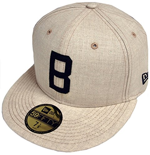 Brim Fitted Cap (New Era 59Fifty Brooklyn Dodgers Cap MLB Basecap Baseballcap Kappe Flat Brim Fitted Los Angeles Cap Basecap (7 1/4 (57,7cm) - beige))