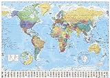 1art1 Empire 215833 Landkarten-Poster Politische Weltkarte, Flaggen ENGL. - 91 x 61 cm
