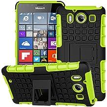 Microsoft Nokia Lumia 950 Hülle Nnopbeclik Hybrid 2in1 TPU+PC Schutzhülle Cover Case Silikon Rüstung Armor Dual Layer Muster Handytasche Backcover 360-Grad-Drehung ständer stoßfest Handy Hülle Tasche Schutz Etui Schale Bumper Pour Microsoft Nokia Lumia 950 5.2 Zoll [Schwarz+Grün]