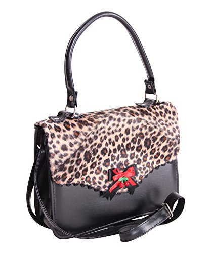 SugarShock Yasmina 50s retro Pin Up Leoparden Rockabilly Tasche Leo Handtasche -