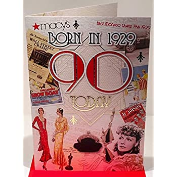 d8d3e1af8 90th Birthday Card 1929 Year You Were Born Female Year Facts Inside Card