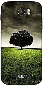 Snoogg Single Tree On Hill Designer Protective Back Case Cover For Micromax A110