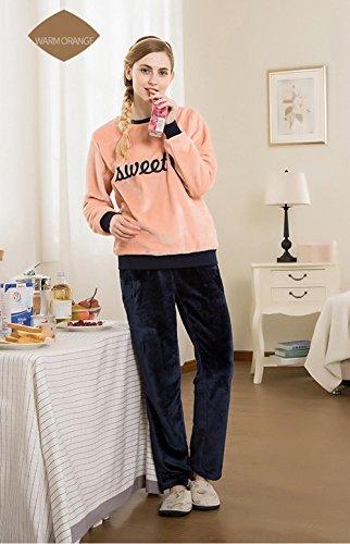 Neueste Frauen Langarm Flanell verdickte Pyjamas Morgenmantel Winter Nachtwäsche, die draußen getragen werden kann , (Frauen Kostüme Wunderland Winter Für)