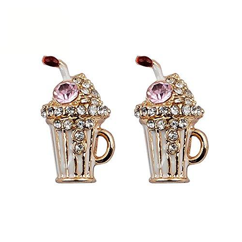 Ohrstecker Summer Cool Stil Tasse trinken Strass Tägliche Hochzeit Party Fashion Jewelry