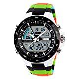 SKMEI 1016 Zeiger Digital LED Dual-Display Männer Uhr Casual Military Watch Männer Outdoor Sports Watch Wasserdichte Männliche Uhr - Black & Bunte